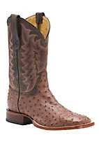 Tony Lama Men's Antique Barnwood Brown Full Quill Ostrich Exotic Square Toe Western Boots