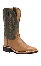 Tony Lama Mens Antique Tan Smooth Ostrich with Chcolate Top Exotic Wide Square Toe Crepe Boot