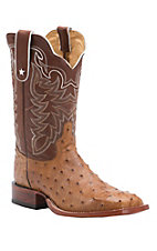 Tony Lama Men's Antique Tan Full Quill Ostrich Exotic Square Toe Western Boots