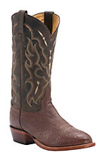 Tony Lama Men's Barnwood Brown Smooth Ostrich U-Toe Exotic Western Boots