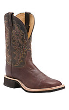 Tony Lama Mens Barnwood Waxy Smooth Ostrich with Chcolate Top Exotic Wide Square Toe Crepe Boot
