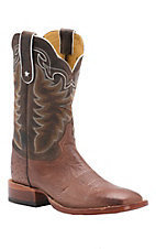 Tony Lama Men's Barnwood Brown Smooth Ostrich Exotic Square Toe Western Boots