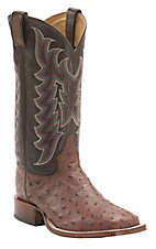 Tony Lama Men's Burnished Brown Full Quill Ostrich Exotic Square Toe Western Boots