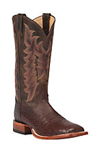 Tony Lama Men's Sienna Brown Smooth Ostrich Exotic Square Toe Western Boots