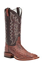 Tony Lama Men's Vintage Almond Ostrich Exotic Square Toe Western Boots