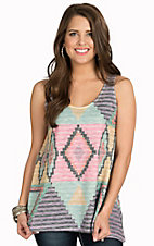 Karlie Women's Washed Multi Aztec Tank Top