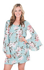 Peach Love Women's Light Blue Floral Print Long Bell Sleeve Dress