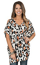 Peach Love White, Coral, and Black Large Leopard Print Cold Shoulder Short Sleeve Fashion Tunic Top