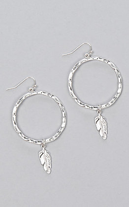 Laminin Tomahawk Hammered Silver Feather Earrings