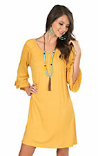 James C Women's Gold with Ruffled 3/4 Sleeve Dress