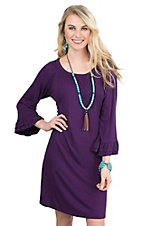 James C Women's Purple with Ruffled 3/4 Sleeve Dress