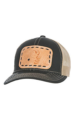 McIntire Saddlery Black and Whip Stitch Tooled Leather Cap