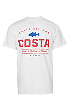 Costa White, Blue and Red Top Water Short Sleeve T-Shirt