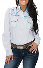 Cowgirl Legend Women's White with Turquoise Embroidery Western Snap Shirt