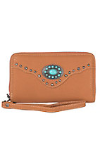 Trinity Ranch Brown with Turquoise Stone Concho Zip Around Wallet