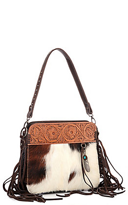 Trinity Ranch Hair-On Leather Collection Coffee Brown with Tooling Concealed Handgun Hobo Bag