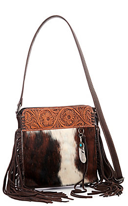 Trinity Ranch Hair-On Leather Collection Coffee Brown with Tooling Concealed Handgun Crossbody Bag