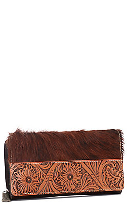 Trinity Ranch Hair-On Collection Coffee Brown with Tooling Wallet