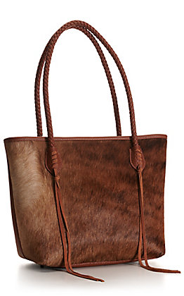 Trinity Ranch Brown Hair-On with Braided Handles and Tassels Tote