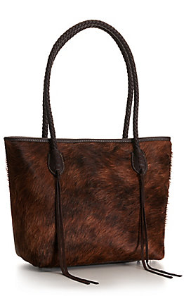 Trinity Ranch Coffee Dark Brown Hair-On with Braided Handles and Tassels Tote