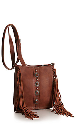 Trinity Ranch Brown with Conchos and Fringe Concealed Carry Crossbody Bag