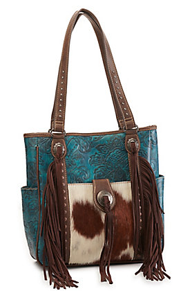 Trinity Ranch Turquoise Tooled Leather Fringed Hair-on Cowhide Concealed Carry Purse