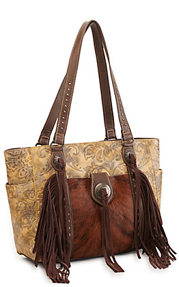 Trinity Ranch Brown Hair On Leather Fringe Concealed Carry Tote
