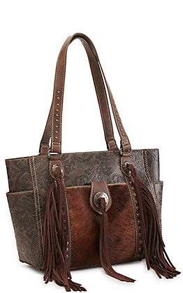 Trinity Ranch Coffee Hair On Leather Fringe Concealed Carry Tote