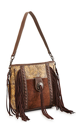 Trinity Ranch Brown Hair On Leather Fringed Concealed Carry Crossbody Bag