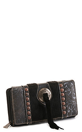 Trinity Ranch Black Concho Hair On Leather Wallet