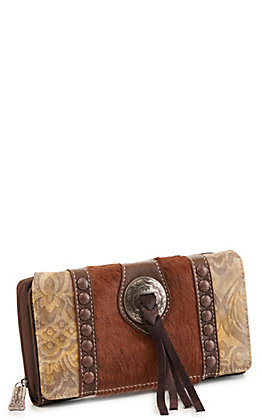 Trinity Ranch Brown Concho Hair On Leather Wallet