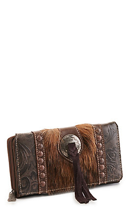 Trinity Ranch Coffee Concho Hair On Leather Wallet