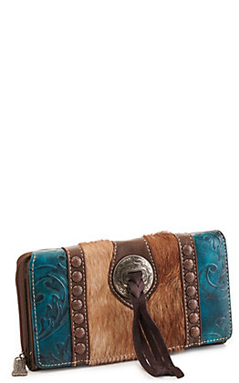 Trinity Ranch Turquoise Concho Hair On Leather Wallet