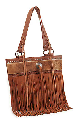 Trinity Ranch Brown Hair On Leather Fringe Tote
