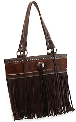 Trinity Ranch Coffee Brown Hair On Leather Fringe Tote