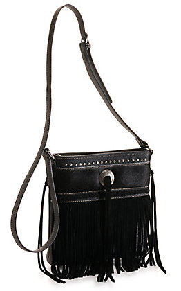 Trinity Ranch Black Hair-On Leather and Fringe Concealed Carry Crossbody Bag