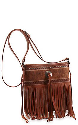 Trinity Ranch Brown Hair-On Leather and Fringe Concealed Carry Crossbody Bag