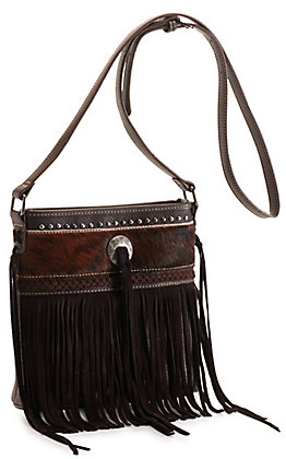 Trinity Ranch Coffee Dark Brown Hair-On Leather and Fringe Concealed Carry Crossbody Bag