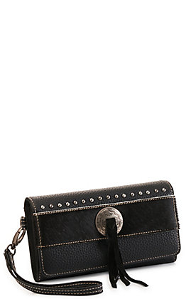 Trinity Ranch Black Concho Hair On Leather Tri-fold Wristlet