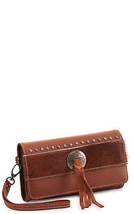 Trinity Ranch Brown Concho Hair On Leather Tri-fold Wristlet