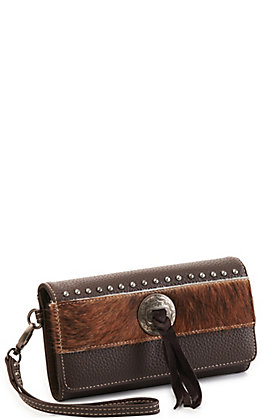 Trinity Ranch Coffee Concho Hair On Leather Tri-fold Wristlet