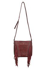 Trinity Ranch Red Floral Tooled Design with Fringe Concealed Handgun Purse