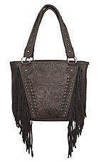 Montana West Chocolate Floral Tootled Design with Fringe Concealed Handgun Purse