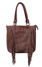 Trinity Ranch Brown Floral Tooled Design with Fringe Concealed Handgun Purse