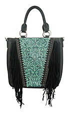 Trinity Ranch Black Floral Tooled Design with Fringe Concealed Handgun Purse