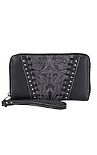 Trinity Ranch Black with Floral Tooling & Studs Zip Around Wallet