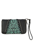 Trinity Ranch Black w/ Turquoise & Black Floral Design Wallet