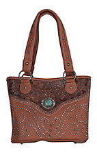 Trinity Ranch Brown Floral Tooled Design with Studs & Turquoise Concho Handbag