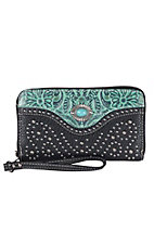 Trinity Ranch Black with Turquoise Floral Tool & Stone Concho Zip Around Wallet