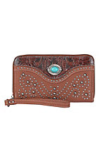 Trinity Ranch Brown with Floral Tooling & Turquoise Stone Concho Zip Around Wallet
